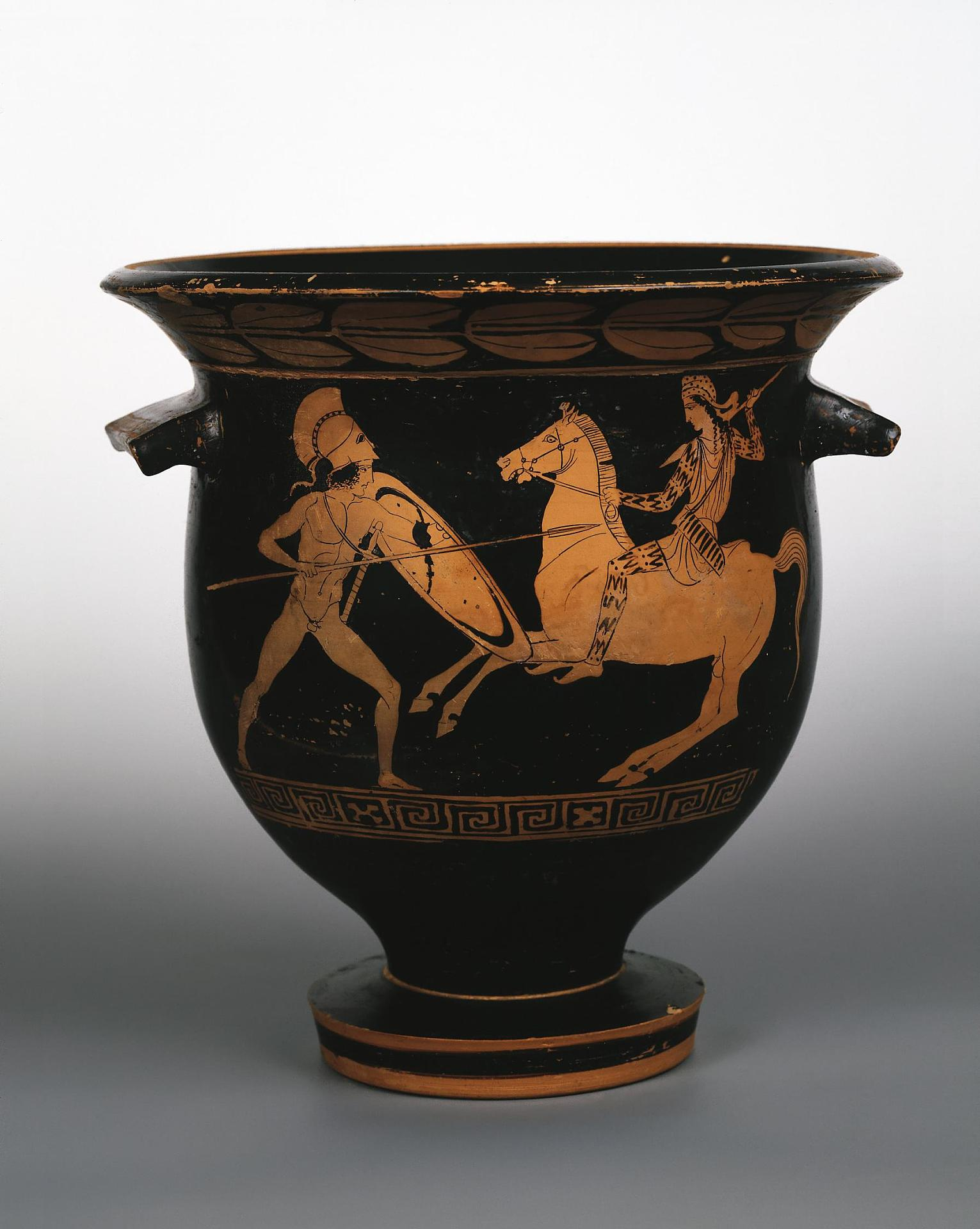 Red-figured Krater showing a Warrior and an Amazon, 430-420 BC, Apulia