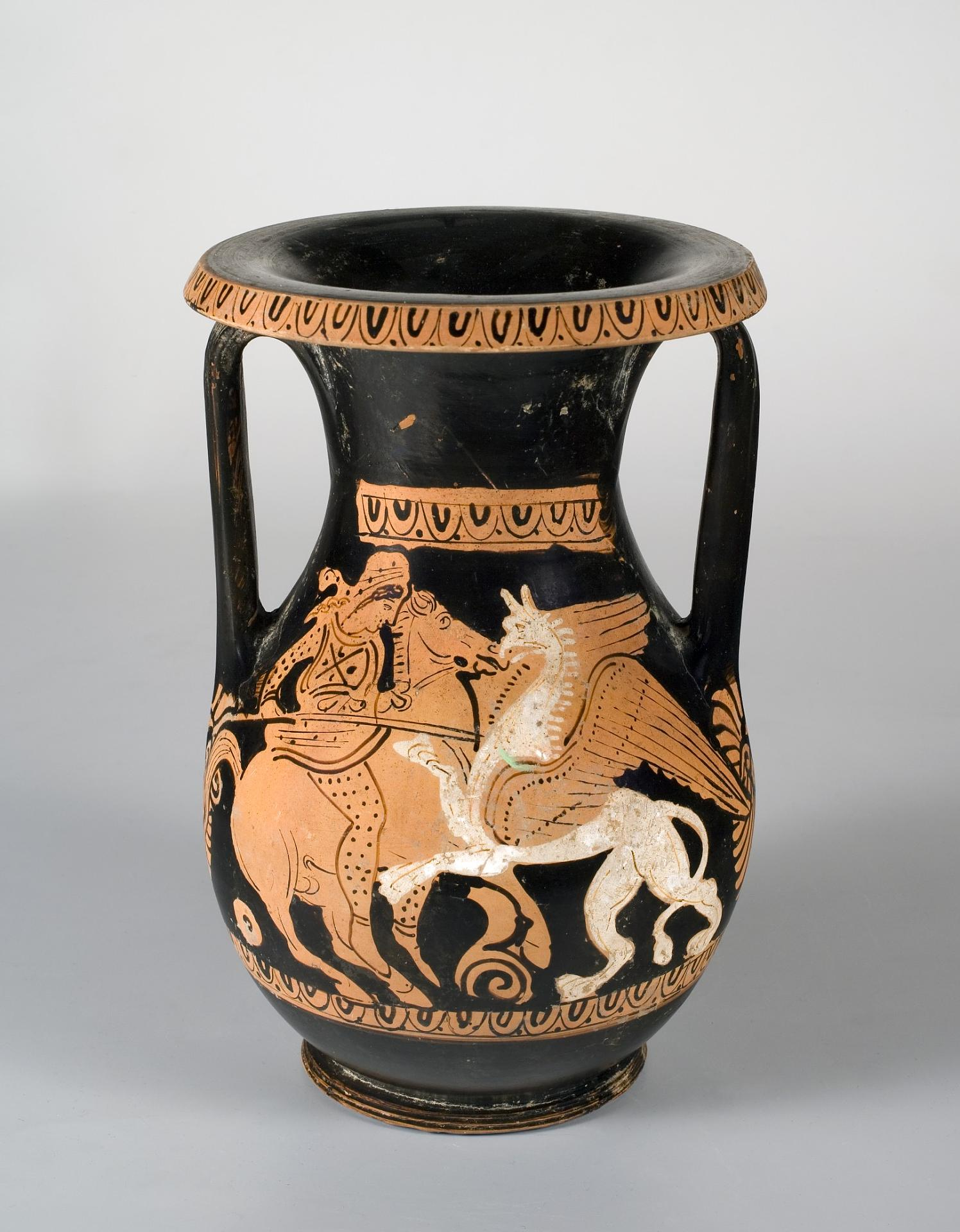 Red-figured Pelike Showing a Fight of an Amazon on Horseback with a Gryphon, Third quarter of the 4th century BC, Attica