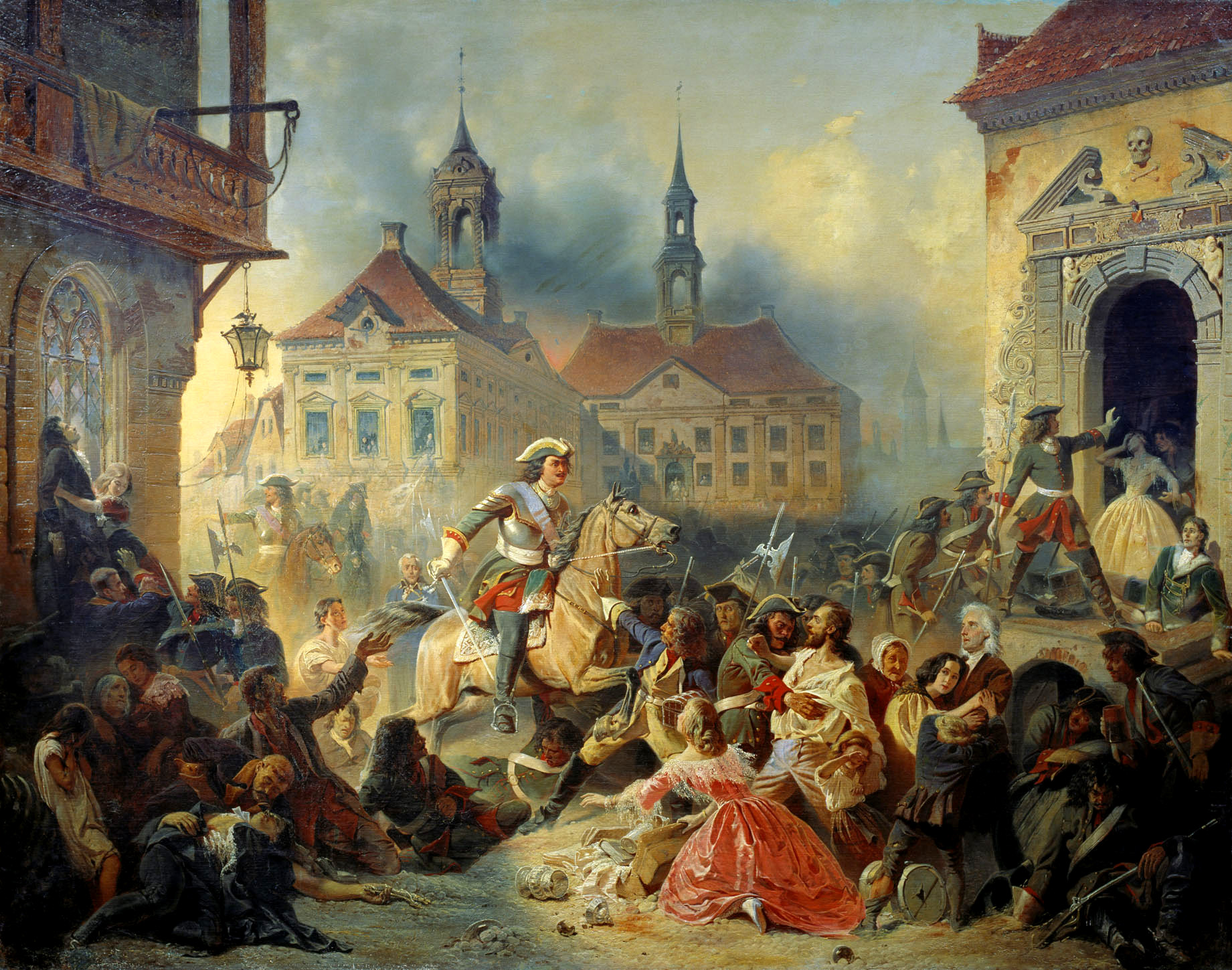 Peter I of Russia stops marauding soldiers after taking Narva in 1704, Nikolay Sauerweid, 1859