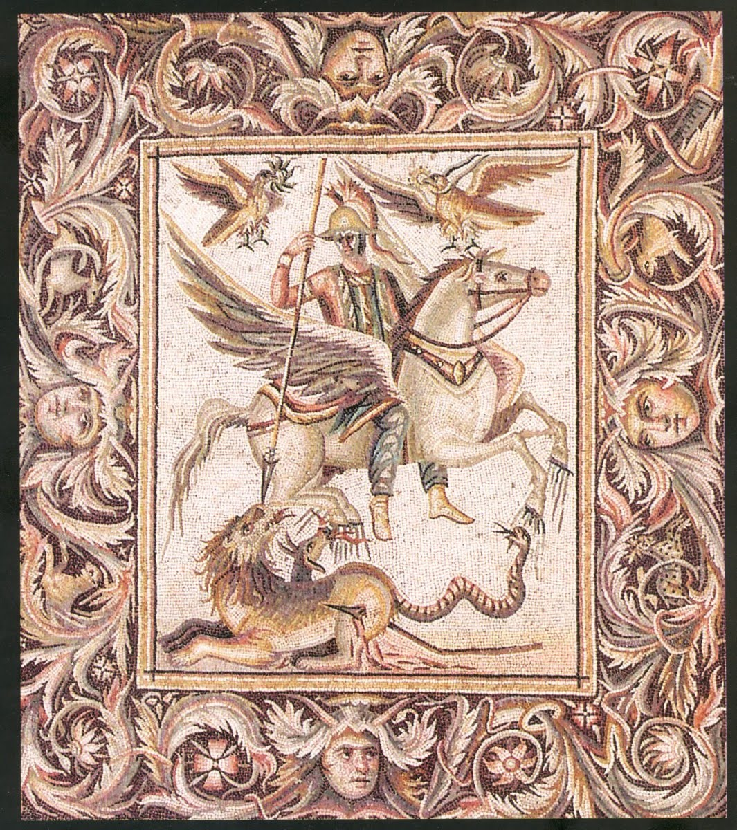 Bellerophon on Pegasus, slaying the Chimera, cr. 260 AD, Palmyra, Syria (Roman culture)