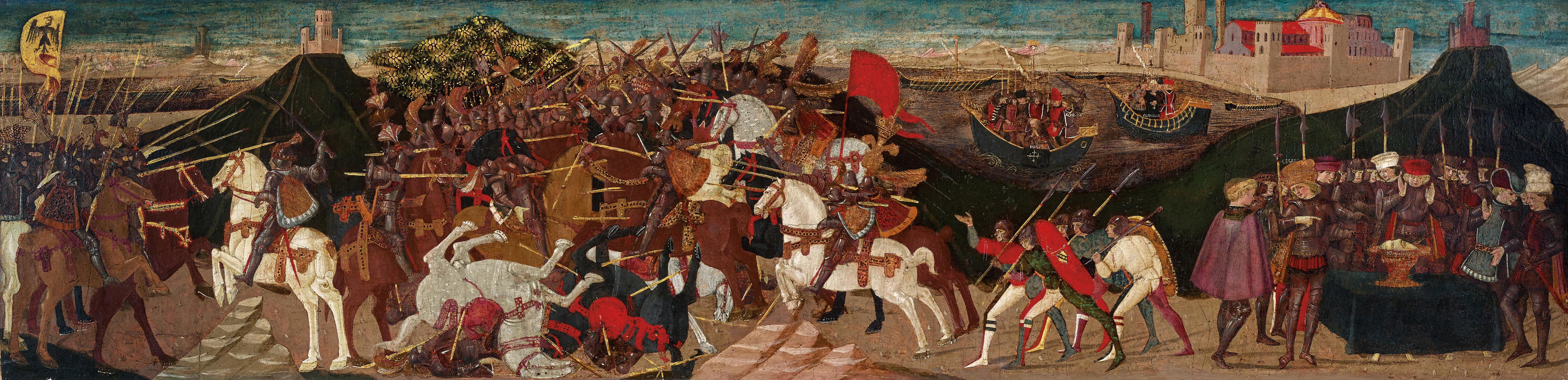 Cassone panel depicting the battle of Pharsalus, 1438-1465, Apollonio di Giovanni, Florence, Italy