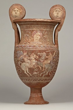 Krater showing the Duel of Life and Death (Etruscan symbolism), cr. 320-280 BC, Canosa, Apulia