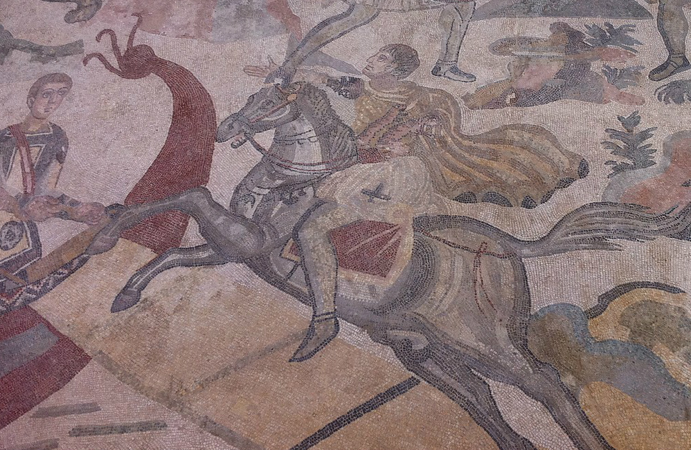 Mosaic with a hunting scene, early 4th century AD, Villa del Casale, Piazza Armerina, Sicily