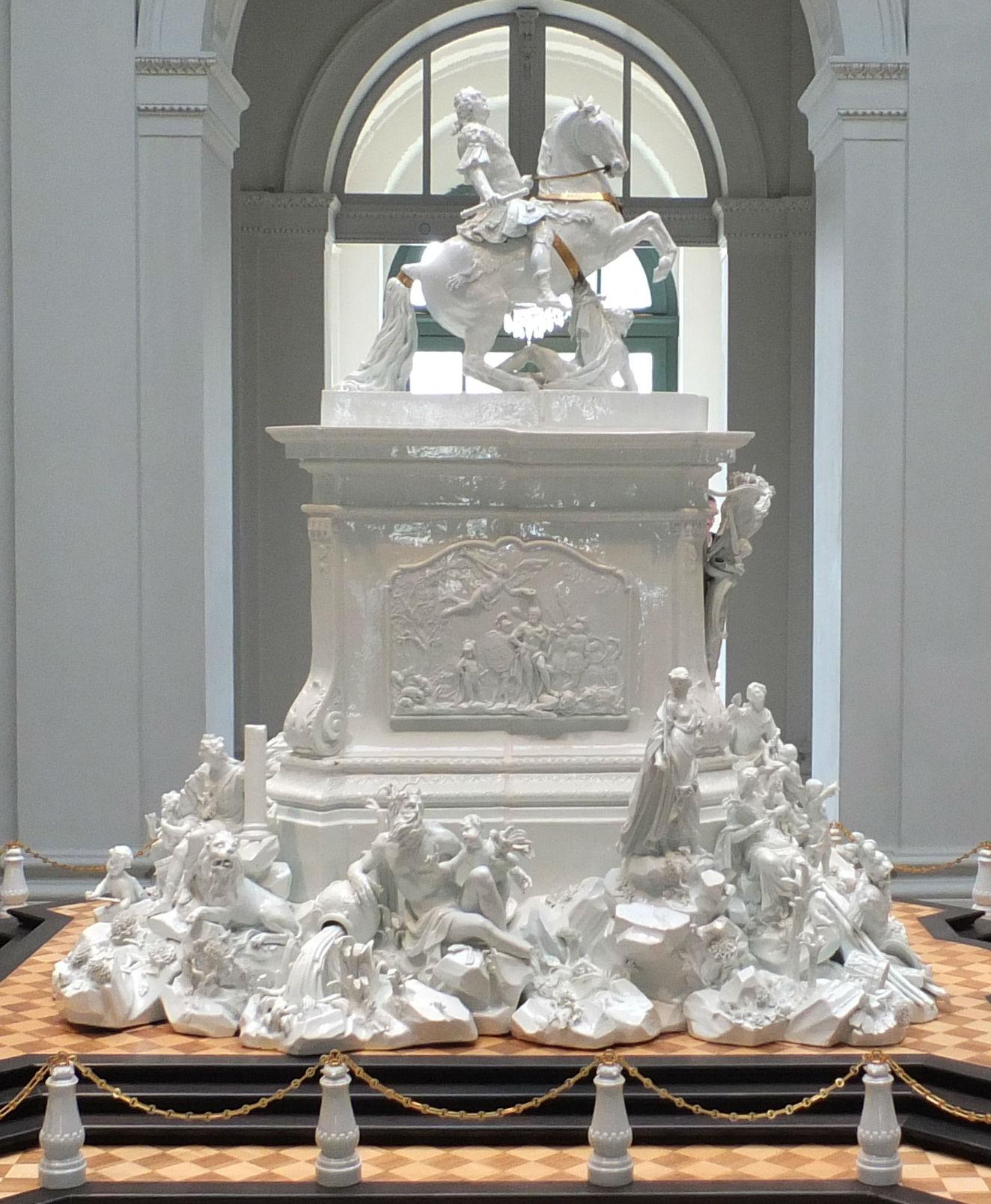 Model for a 12m equestrian statue to Augustus III, 123cm x 94cm x 117cm,1753, Johann Joachim Kändler