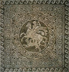 Bellerophon on Pegasus killing Chimaera, mosaic floor house, 432-348 BC,  Olynthos, Chalkidiki, Greece