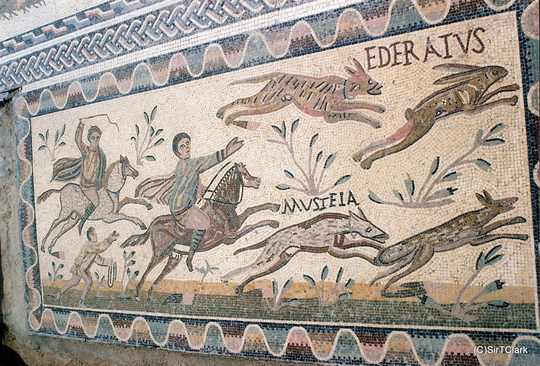 Mosaic with a hunting scene,3rd century, House of the Laberii, Uthina, Tunisia
