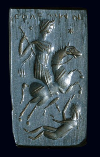 Seal-amulet with a representation of Solomon on horseback slaying a demon, 5th-6th century, Byzantine