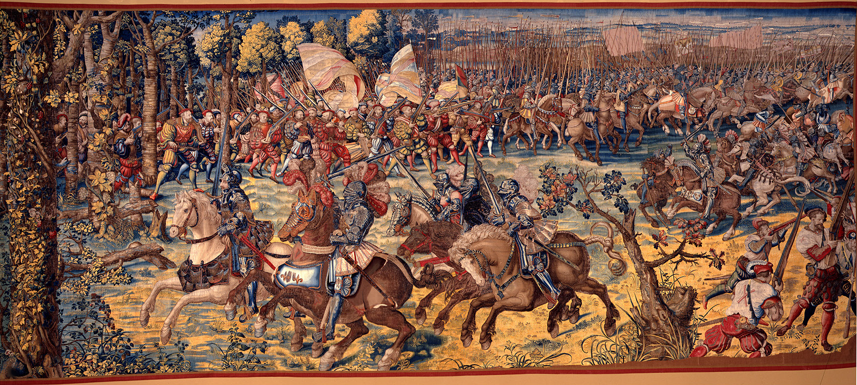 The advance of the imperial army and attack on the French gendarmerie led by Francis I, the first of the seven tapestries representing the Battle of Pavia, 1528-31, Bernard van Orley, Brussels, Flanders