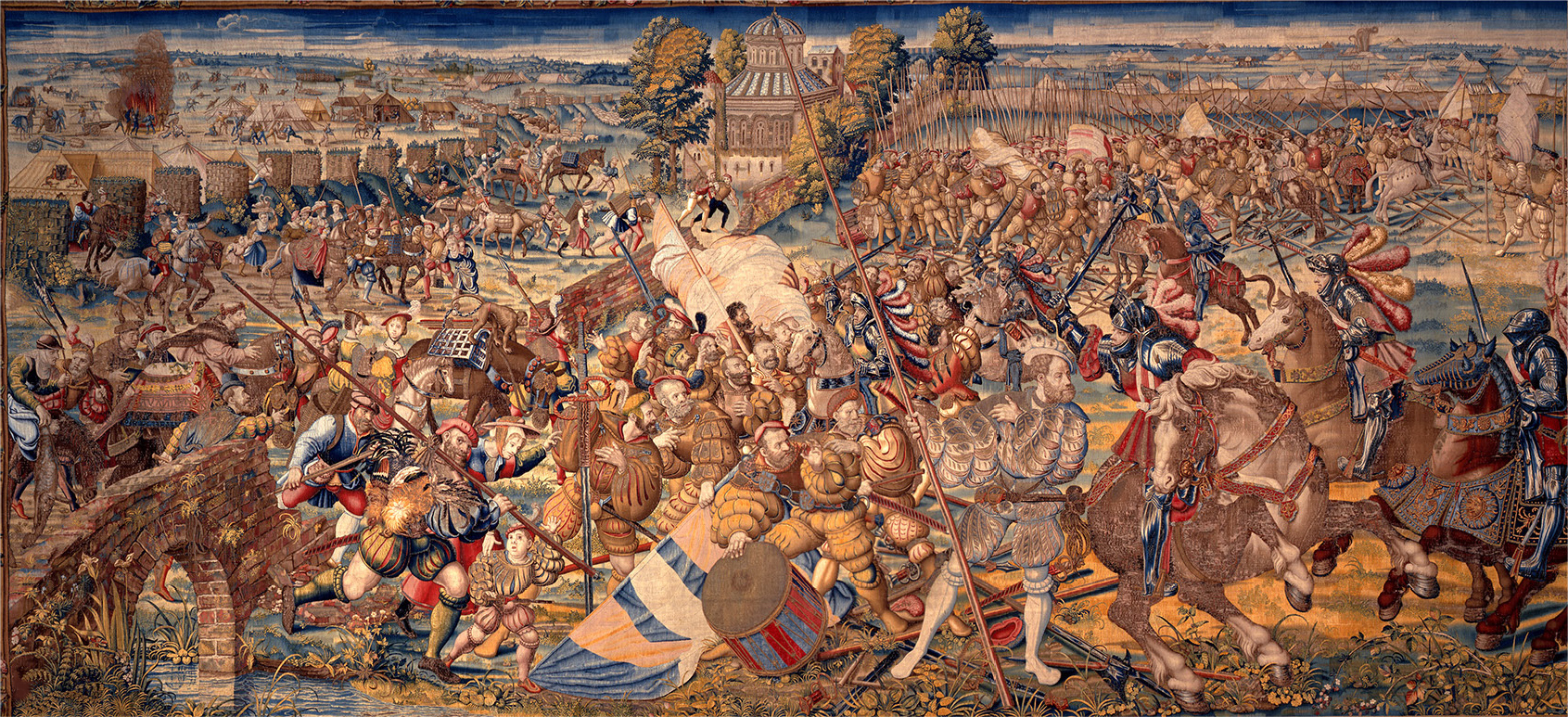 The escape of the French army and retreat of Duke D'Aleçon beyond Ticino, the sixth of the seven tapestries representing the Battle of Pavia, 1528-31, Bernard van Orley, Brussels, Flanders