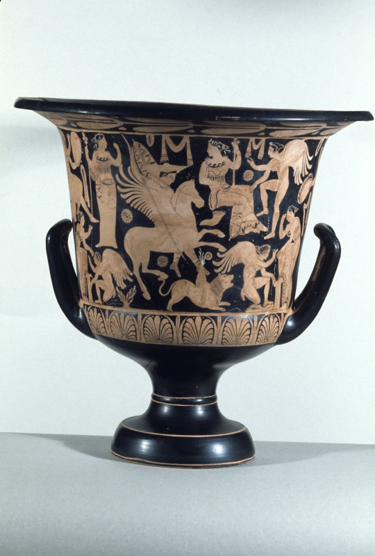 Red-figure calyx krater with Bellerophon killing the Chimaera, late 4th century BC, Etruscan/Late Faliscan
