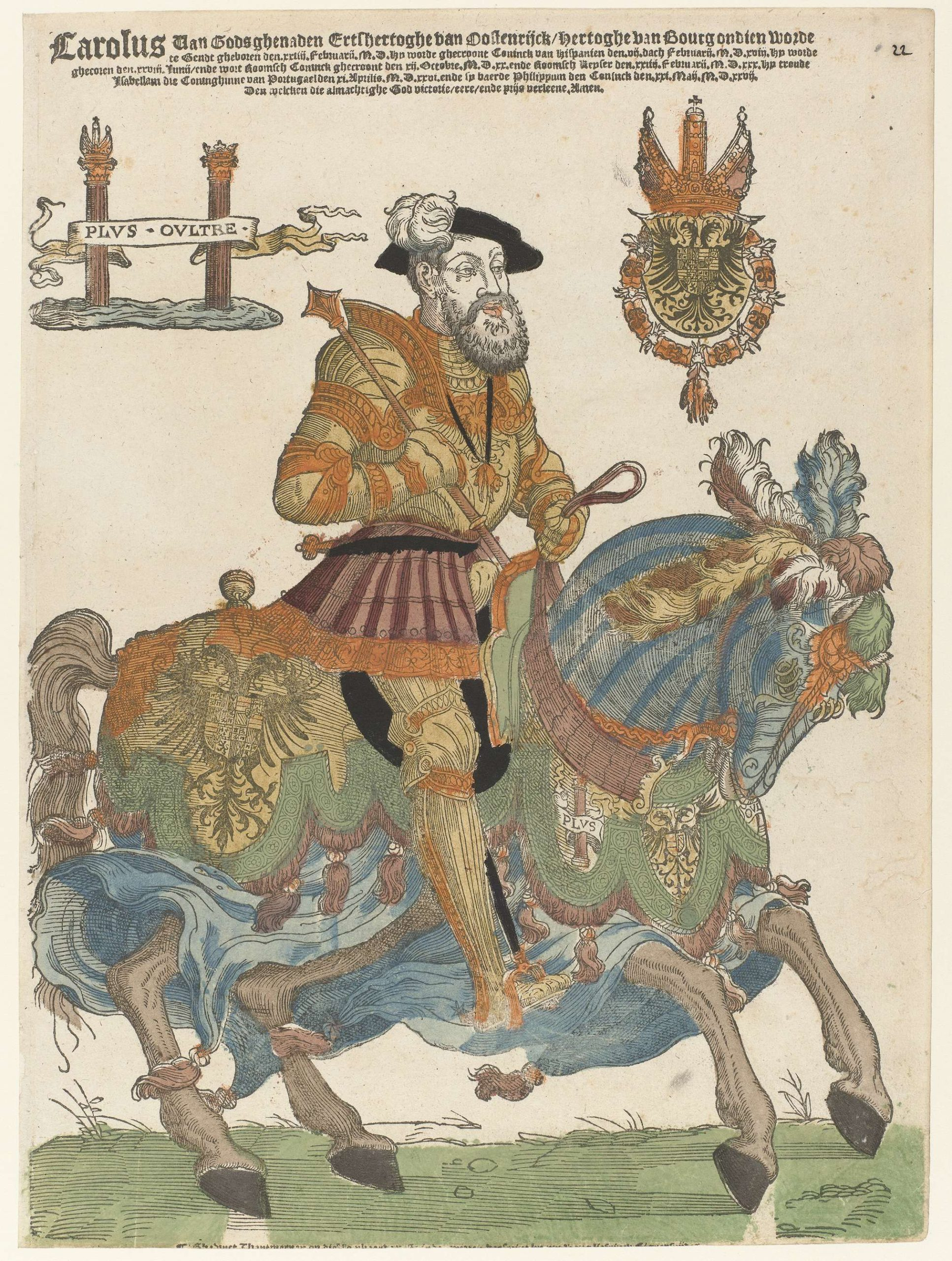 Emperor Charles V on Horseback, 1538-45, Cornelis Anthonisz (manner of) and Hans Liefrinck (I), Antwerp, Netherlands