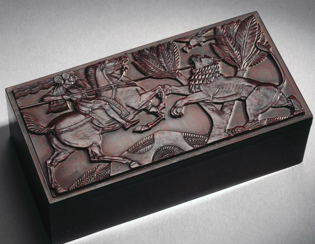 Bakelite cigarette box with a horseman spearing lion in Assyrian style, 1930's, Birkby's Ltd., England