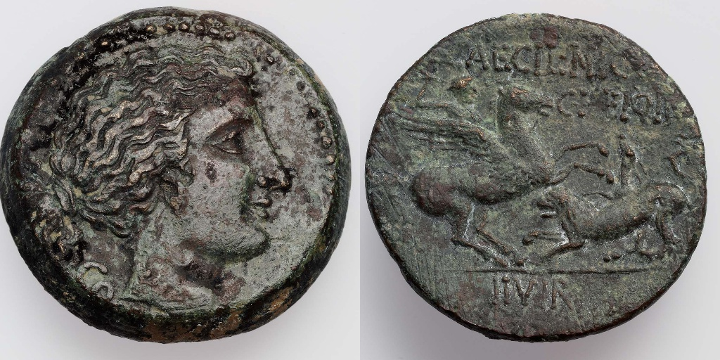 Coin with the head of Aphrodite, struck under Q. Caecilius Niger and C. Heius Pamphilus, 34–31 BC, Corinth, Roman culture