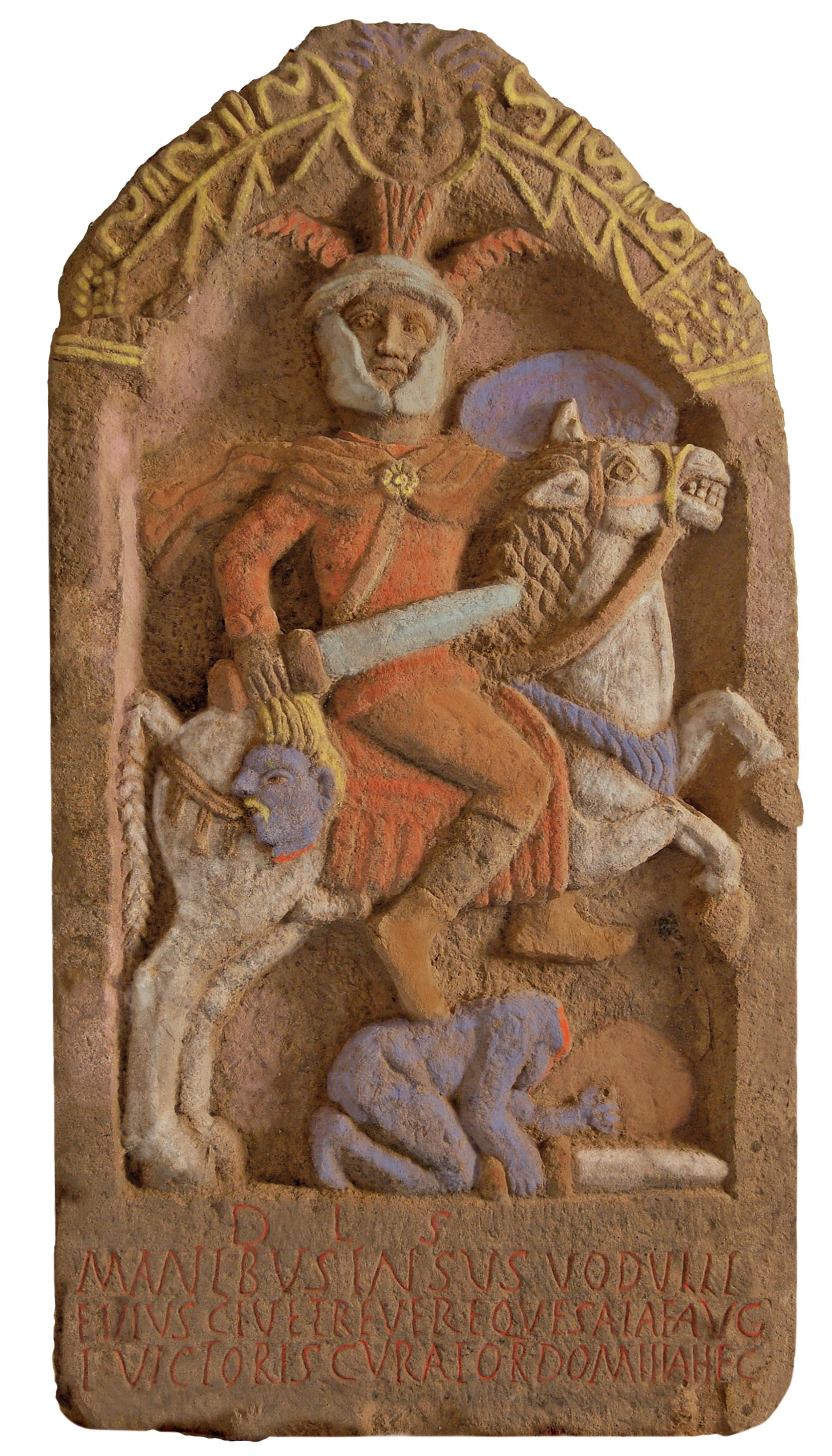 Roman gravestone showing a soldier Insus holding the severed head of a barbarian, coloured reconstruction (artist's impression),cr. 100 AD, discovered in Lancashire, UK