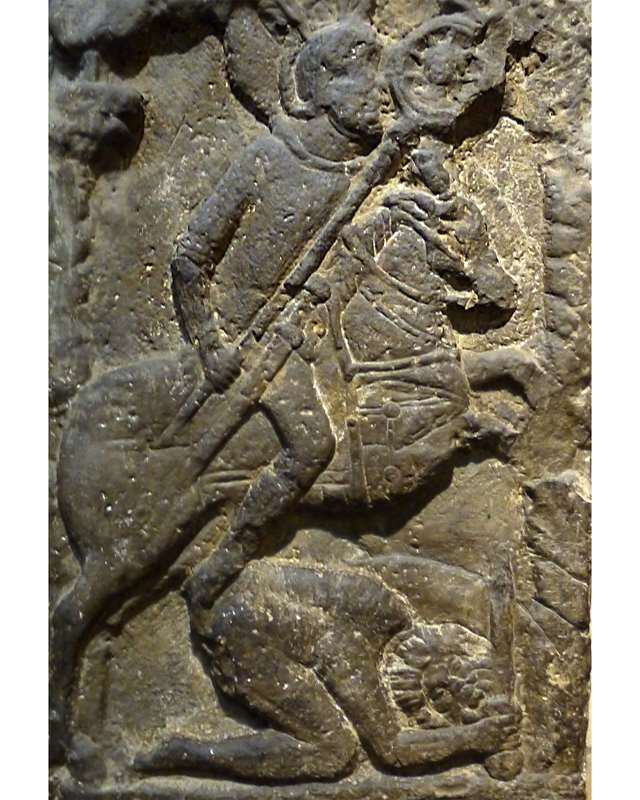 Roman tombstone of a standard-bearer Flavinus triumphing over an abject Briton,cr. 77-100 AD, discovered in Corbridge, UK
