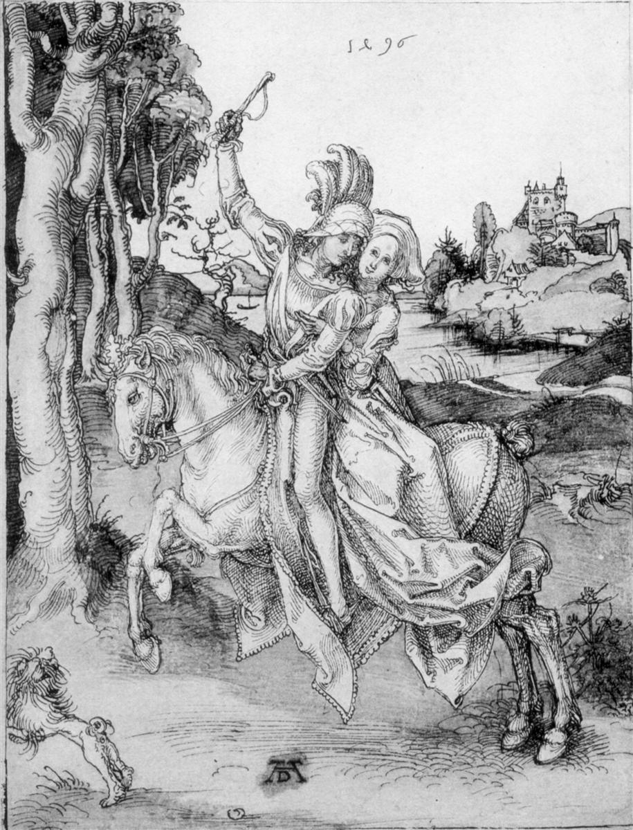 Young couple on a horseback, 1496, Albrecht Dürer