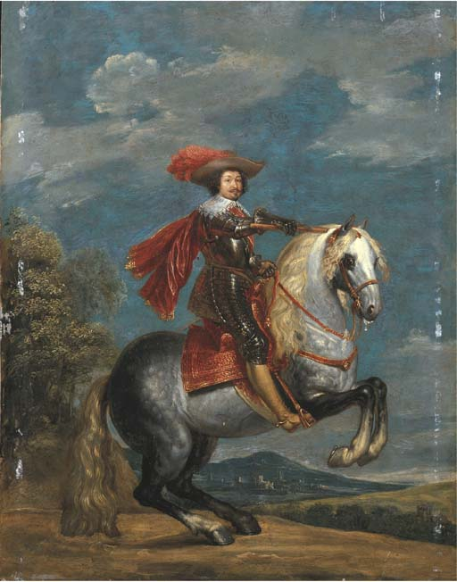 Equestrian portrait of a prince in armour, with the Order of the Golden Fleece, before 1684, Gonzales Coques