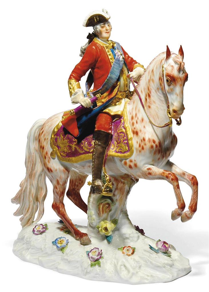 Augustus III porcelain figurine,20th century, incised in 1796,after a model by Meyer