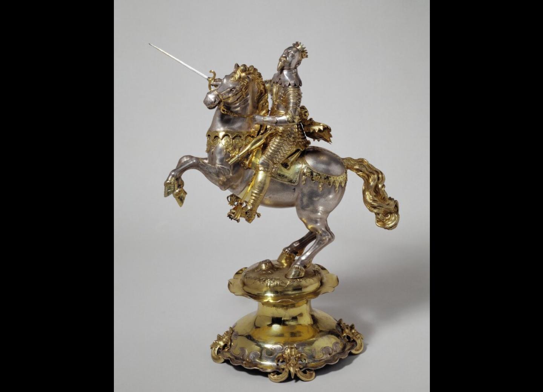 Drinking cup/centrepiece, modelled as Gustavus Adolphus II King of Sweden, 1644-1647, David Schwestermüller I, Augsburg, Germany