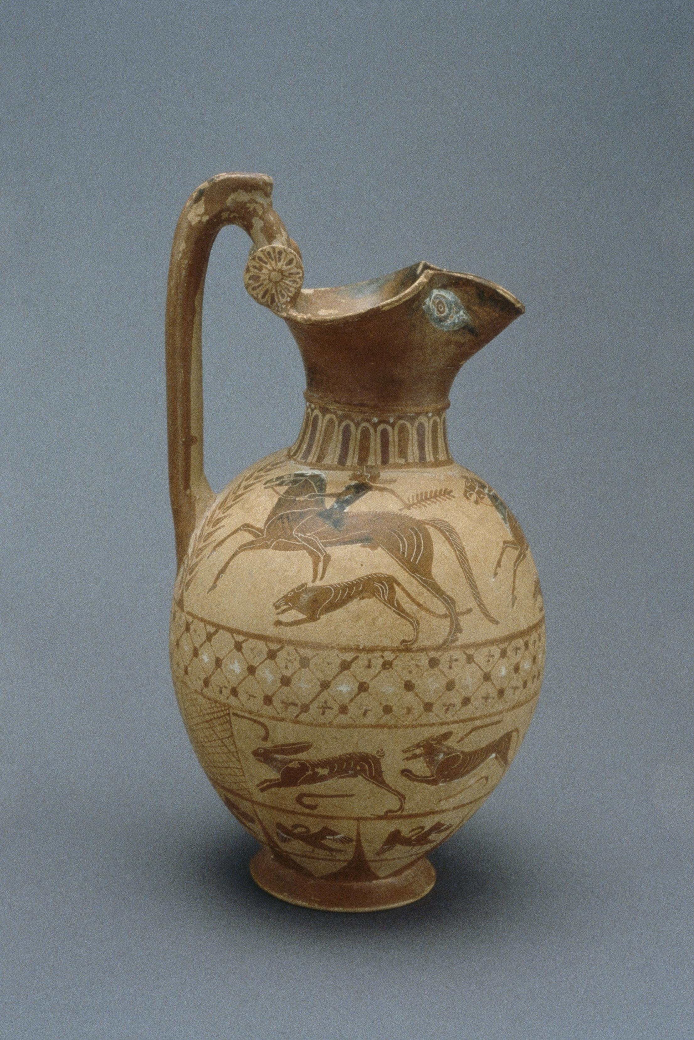 Terracotta hydria showing hare hunt, 6th century BC, Caere, Etruria