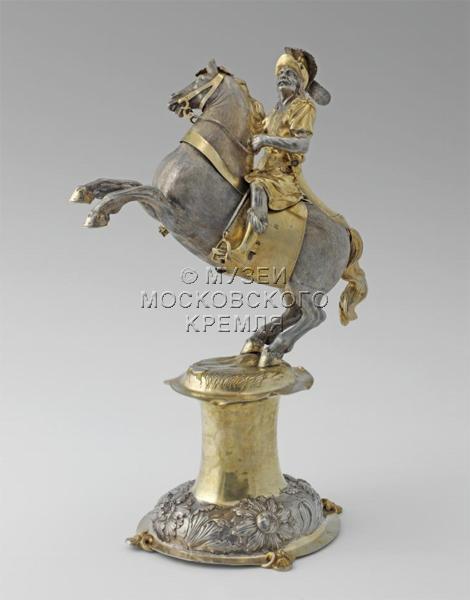 Table figurine 'Riding Warrior', 1665-1669, Heinrich Mannlich, Augsburg, Germany