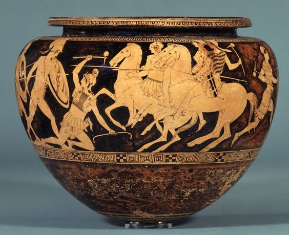 Dinos with the depiction of combat of Attic heroes with Amazons,440 BC-430 BC, Attica