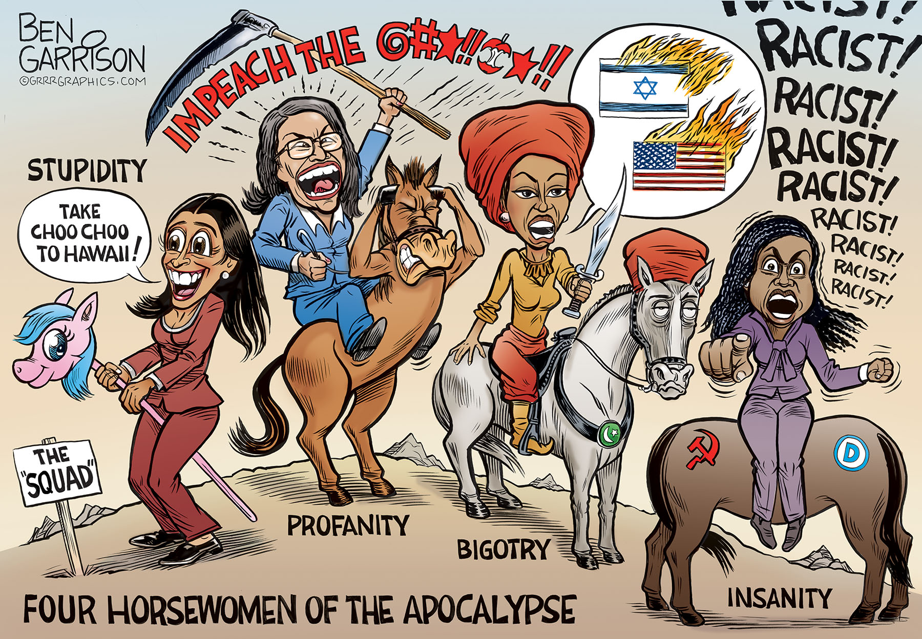 Four Horsewomen of the Democrat Apocalypse, Ben Garrison, July 2019, U.S.A.