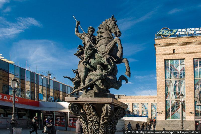 Monument to Saint George, Komsomol'skaja Square, 2012, Sergej Scherbakov, Moscow, Russia