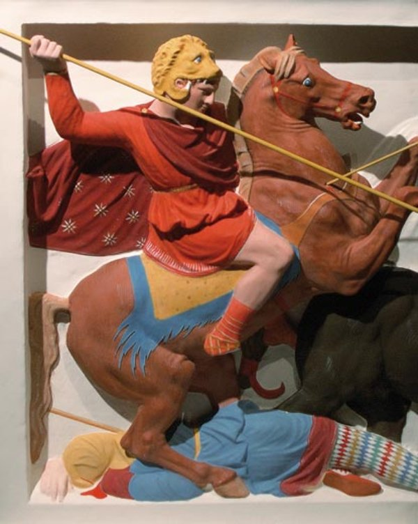 Detail of the Alexander Sarcophagus showing the battle of Issus, painted replica (original - circa 320 BC), Ionian or Rhodian workmanchip, Hellenistic