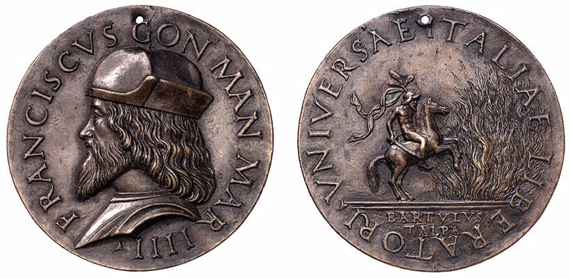 Medallion of Francisco II Gonzaga with the depiction of Marcus Curtius, 1530, Bartulus Talpa, Mantua