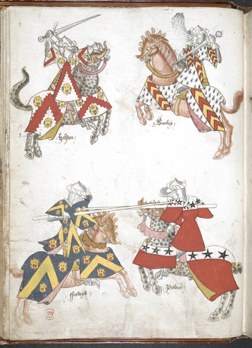 Illustration of Sir Thomas Holme's Book of Arms, cr. 1446, before 1448, London (?), South-East England