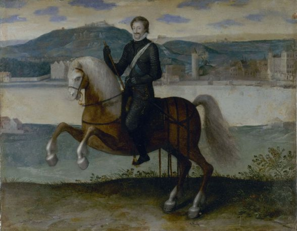 Portrait of Henri IV on horseback with Paris on the background, 1553-1610, probably after 1594, ?