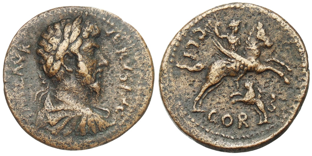 Bronze coin with Bellerophon on Pegasus, 161-169 AD, Corinth, Roman culture