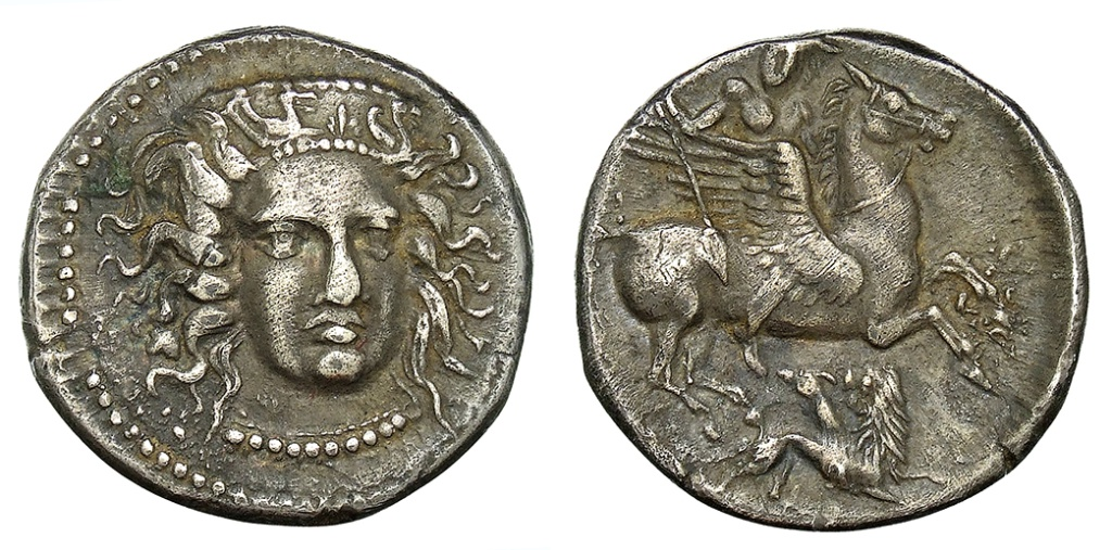 Didrachm with Bellerophon on Pegasus, cr. 395-390 BC, Fenserni, Campania, Italy