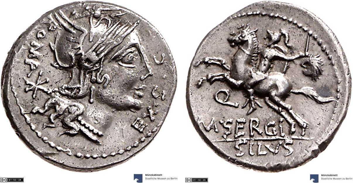 Denarius showing a horseman on reverse, minted in 116-115 BC, Roman Republic