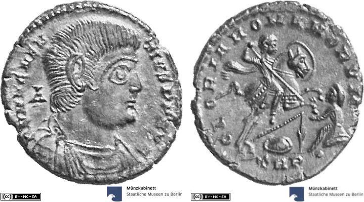 As showing the emperor on horseback on reverse, minted in 350-351 AD under Magnentius, Roman Empire