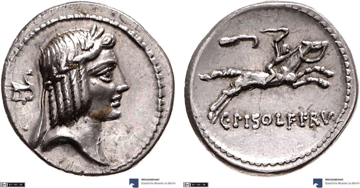 Denarius showing a horseman on horseback on reverse, minted in 67 BC, Roman Republic