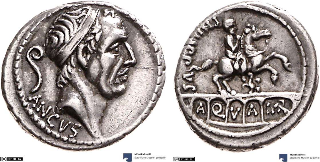 Denarius showing an equestrian statue on reverse, minted in 56 BC, Roman Republic