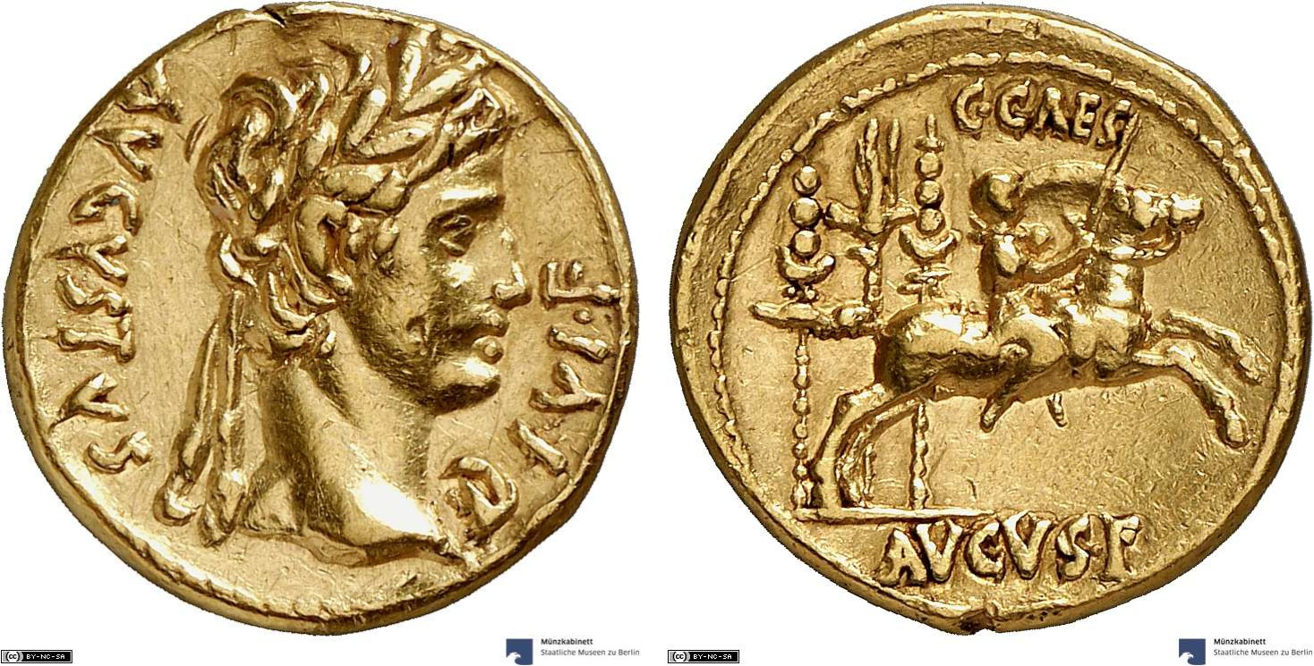 Aureus showing Augustus on horseback on reverse, minted in 8 BC under Augustus, Roman Empire