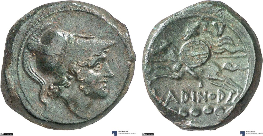 Quincunx showing a rider on horseback on reverse, minted in cr. 210-175, Samnium, part of Roman Republic