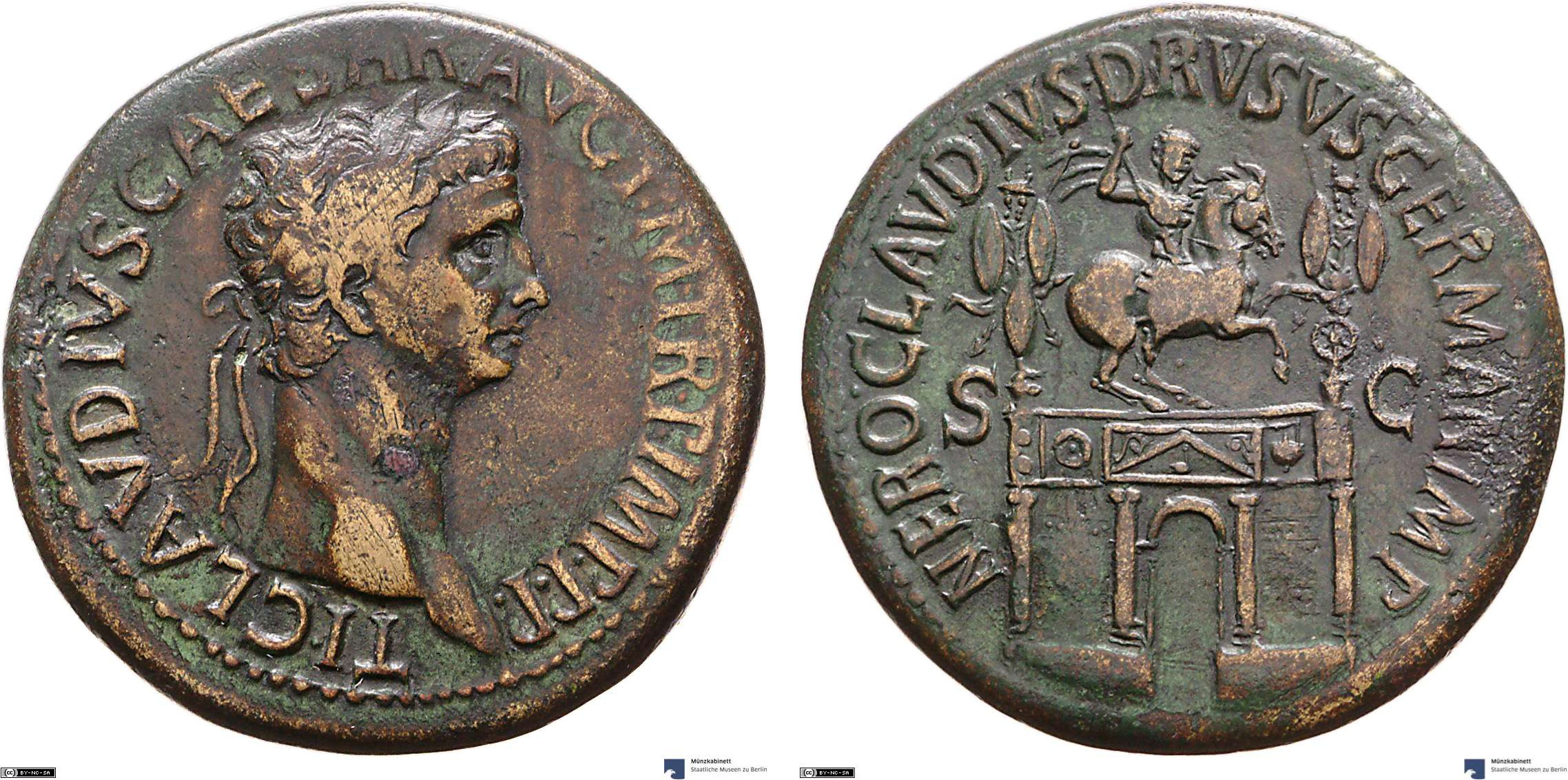 Sestertius showing an equestrian statue on reverse, minted in 42-43 AD under Claudius, Roman Empire