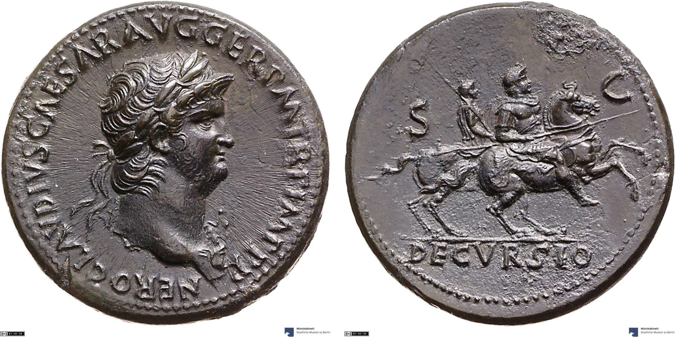 Sestertius showing Nero on horseback on reverse, minted in 64 AD under Nero, Roman Empire
