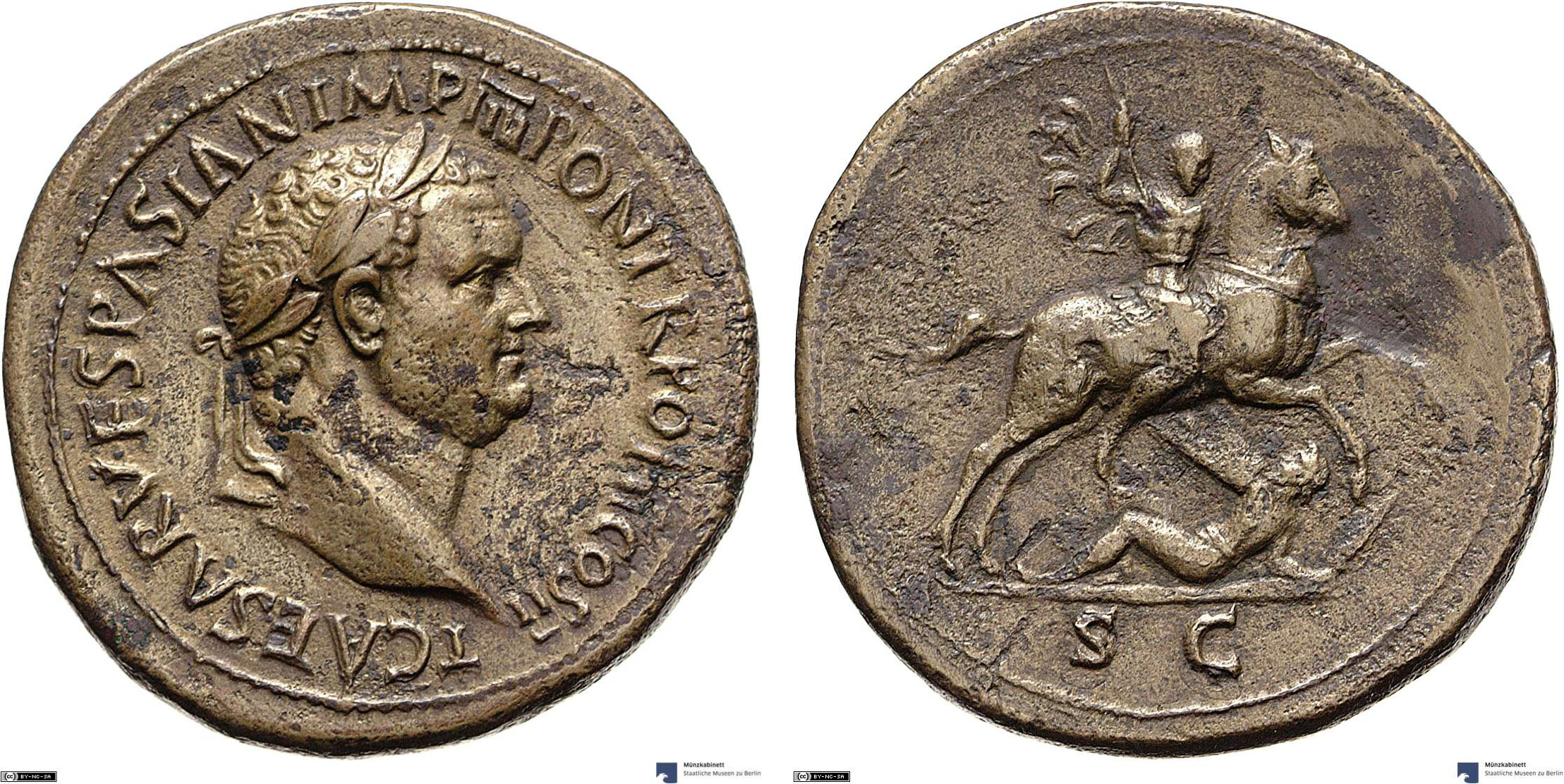 Sestertius showing Titus on horseback on reverse, minted in 72-73 AD under Titus, Roman Empire