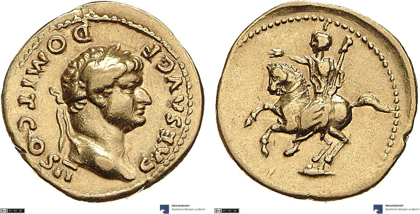 Aureus showing Domitian on horseback on reverse, minted in 73-75 AD under Vespasian, Roman Empire