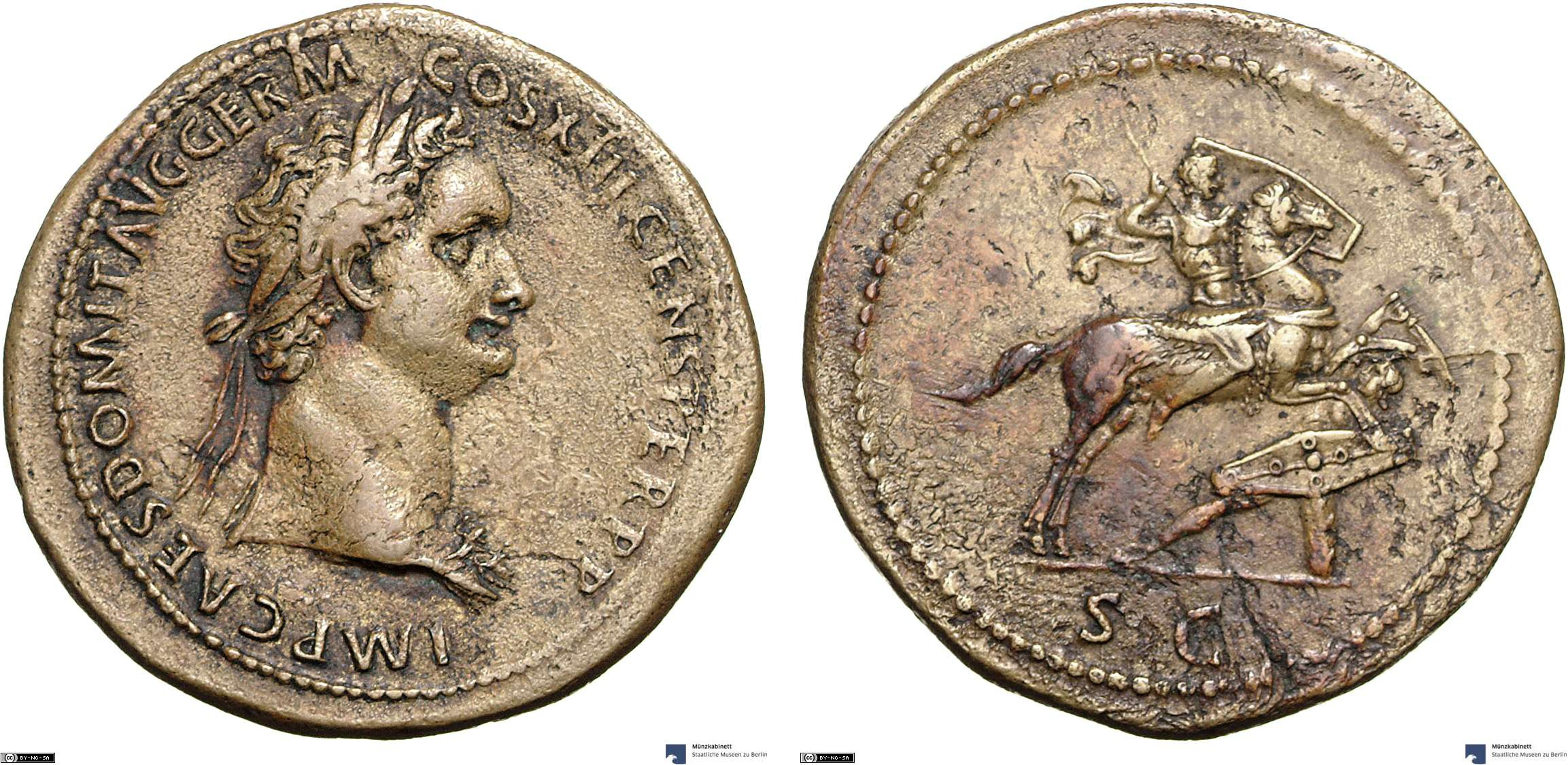 Sestertius showing the emperor on horseback on reverse, minted in 87 AD under Domitian, Roman Empire
