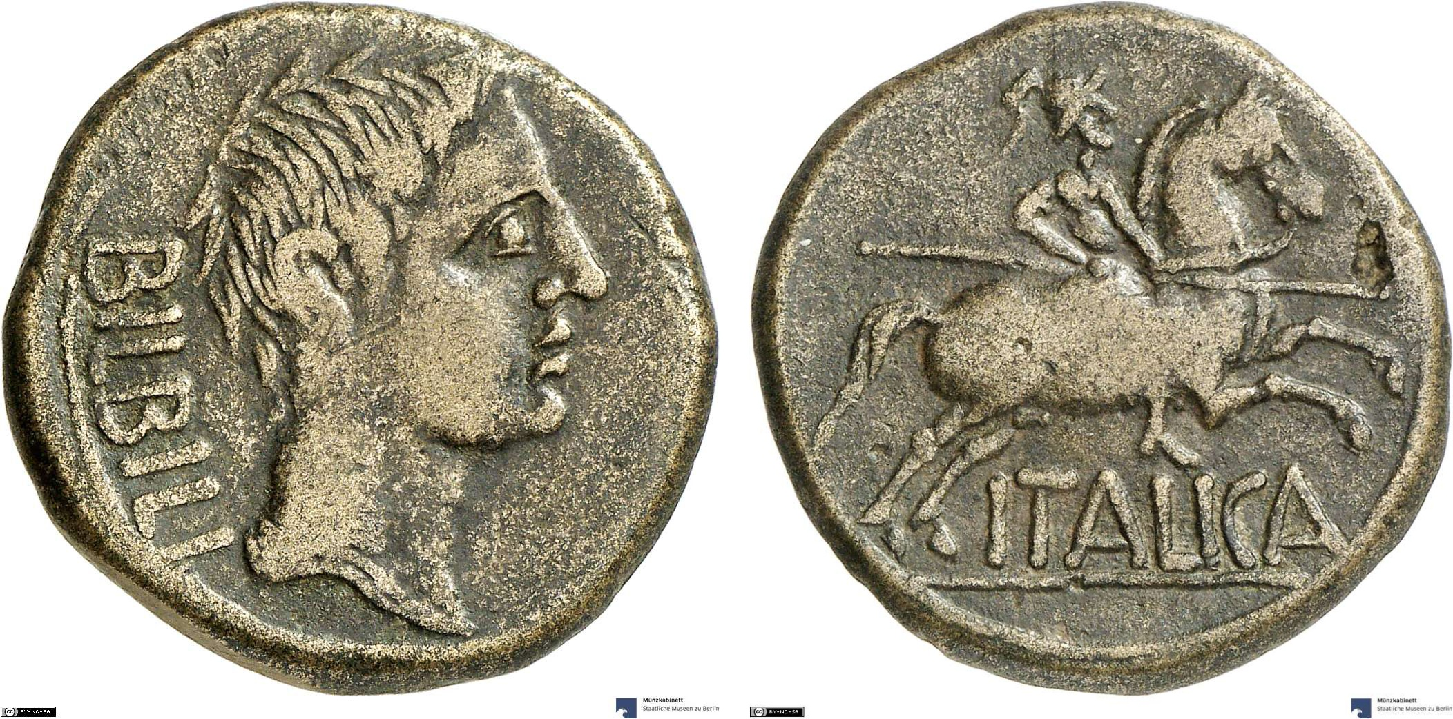 As showing a horseman on reverse, minted in 27 BC-14 AD under Augustus, Roman Empire