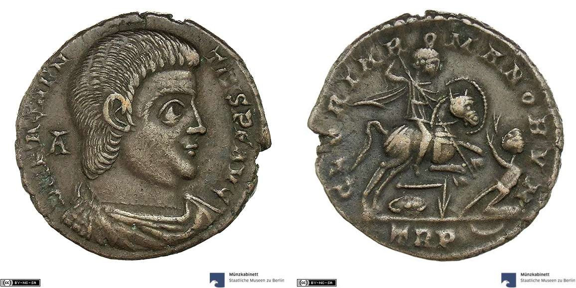 As showing Magnentius on horseback on reverse, minted in 350-351 under Magnentius, Roman Empire