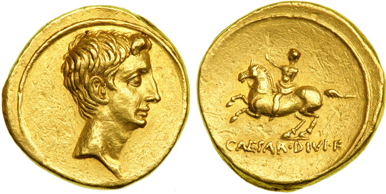 Aureus showing Augustus on horseback on reverse, minted in 32-29 BC under Augustus, the last type to be issued before the Battle of Actium, Roman Empire