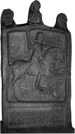 Tombstone for Roman cavalryman Rufus Sita, cr. 50 AD, discovered in Gloucester, UK