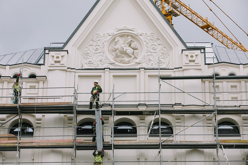 Saint George on the facade of Polytechnic Museum, created in 1872, restaured in 2019, Moscow, Russia